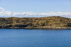 View of the Isla del Sol on Lake Titicaca in Bolivia Stock Photography