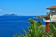 Greece,island Ithaki-view of the island Atokos. View of the island Atokos from seacoast near town Kioni on the island of Ithaki in Greece Stock Photography