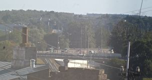 View of the Island Bridge in the hot summer. Riga, Latvia.  stock video
