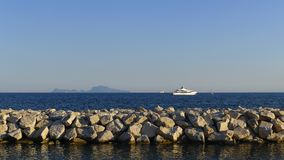 View of the island of Capri from Naples stock image