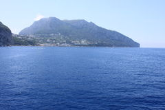 View of the island of Capri from the Tyrrhenian Sea Royalty Free Stock Photography