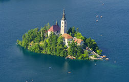 View on island with church on lake Bled, Slovenia Royalty Free Stock Photos