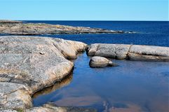 View from the island, Häradsskär. Beautiful archipelago,a summer day in Sweden Royalty Free Stock Images