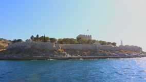 View of the island of Kusadasi. Fortress on the island in Kushadasi, Turkey. Fortress on the island in Kushadasi, Turkey stock video