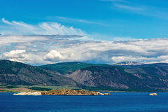 View of the island Oltrek. Maloe More strait, lake Baikal Royalty Free Stock Images