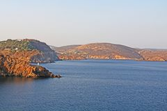The Island of Patmos, Greece with Copy Space royalty free stock photography