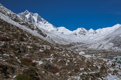 View of Island Peak and Lhotse in the village of Dingboche Royalty Free Stock Photography
