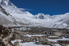View of Island Peak in the village of Dingboche royalty free stock photos