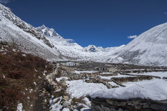 View of Island Peak in the village of Dingboche Royalty Free Stock Photography