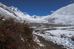 View of Island Peak in the village of Dingboche Royalty Free Stock Images