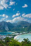 View of the island  Phi Phi Don  from the viewing point Royalty Free Stock Images