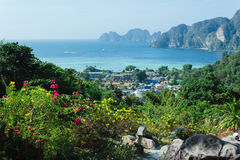 View of the island  Phi Phi Don  from the viewing point Stock Photos