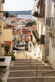 View of the island. Pylos has a long history, In Classical times, the site was uninhabited Royalty Free Stock Photos