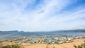 View of the island. Pylos has a long history, In Classical times, the site was uninhabited Stock Photography
