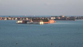 View on the island of Sacca Sessola Isola delle Rose in the Venetian lagoon, evening. Italy. View on the island of Sacca Sessola Isola delle Rose in the Venetian stock video footage