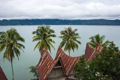 View of island Samosir on Lake Toba Stock Photos