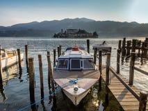 View of the island of San Giulio in Lake Orta Stock Photos