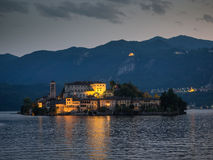 View of the island of San Giulio in Lake Orta Royalty Free Stock Photo