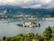 View of the island of San Giulio in Lake Orta Italy Stock Photos