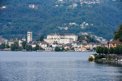 View of the island of San Giulio in Lake Orta Royalty Free Stock Images