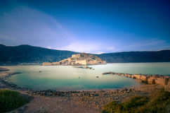 View of the island of Spinalonga. Spinalonga (Crete) is an island where were isolated lepers, humans with the Hansen's desease. Here took place the story of Royalty Free Stock Photography