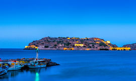 View of the island of Spinalonga at night, Crete Royalty Free Stock Photography