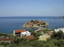 View of the island of St. Stephen Montenegro royalty free stock photos