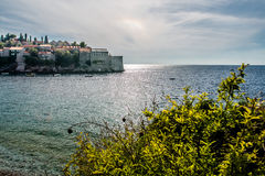 View of the island of Sveti Stefan Stock Photography