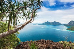 View of the island. Views of the islands from the top of an island with tree branches Royalty Free Stock Images