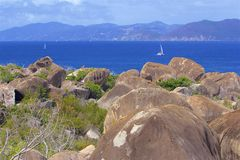 Virgin Gorda, the Baths in the Caribbean sea. View of the island of Virgin Gorda in the Caribbean sea stock images