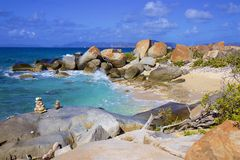 Virgin Gorda, the Baths and Caribbean sea. View of the island of Virgin Gorda and Caribbean sea royalty free stock images