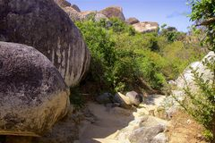 Virgin Gorda, the Baths in the Caribbean sea. View of the island of Virgin Gorda in the Caribbean sea stock photography