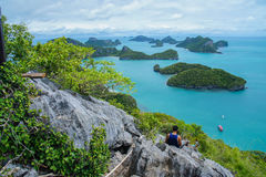 View of Islands and cloudy sky from viewpoint of Mu Ko Ang Thong National Marine Park near Ko Samui in Gulf of Thailand. Surat Thani Province, Thailand Royalty Free Stock Photography
