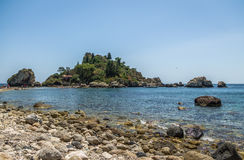 View of Isola Bella island and beach - Taormina, Sicily, Italy Royalty Free Stock Photography