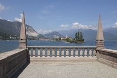 View of Isola dei Pescatori from Isola Bella, Stresa. View of the `Fishermen`s Island` from Palazzo Borromeo on  Isola Bella in Stresa, Lake Maggiore Stock Photos