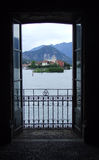 View on Isola la Malghera from window. View on small fishermens island from window on Isola Bella in Lago Maggiore in Italy Royalty Free Stock Photos