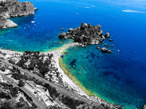 View of Isolabella from Taormina. Sicily Royalty Free Stock Photography