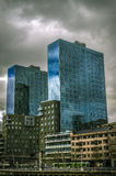 View of Isozaki towers, in Bilbao. Royalty Free Stock Images