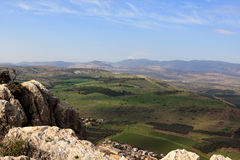View of Israel. View of Galilee from Arbel mountain, Israel Royalty Free Stock Photo