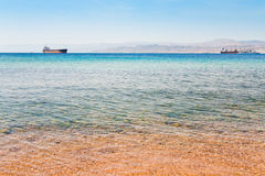 View on Israel mountain from Aqaba port Royalty Free Stock Photo
