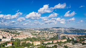The view on Istambul. Bosporus and the bridge. Clouds in the sky Royalty Free Stock Image
