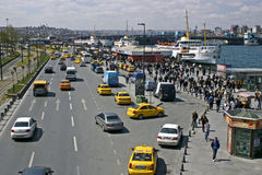 View of Istanbul. At the Galata bridge. First we see numerous yellow taxi in Istanbul is full royalty free stock image