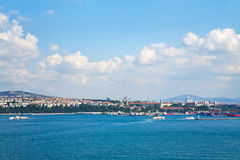 View on Istanbul. Asian side in sunny day through Bosphorus Stock Photos