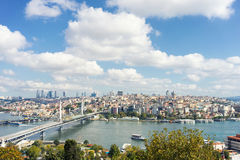 View of Istanbul across the Golden Horn. On a sunny day Royalty Free Stock Photography