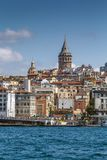 View of Istanbul Beyoglu area, Turkey. View of Istanbul Beyoglu area with Galata Tower from Bosphorus, Turkey royalty free stock image