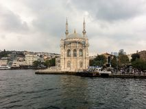 View of Istanbulfrom Bosporus. Ancient mosque. stock photos