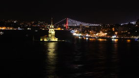 View of Istanbul with a bridge in the background at night stock footage