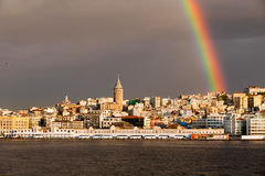 View of Istanbul city. View of Rainbow over Galata tower in Istanbul, Turkey Stock Photo