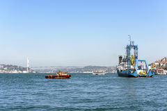 View Istanbul city and bodpshorus from the boat Royalty Free Stock Photo