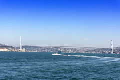 View Istanbul city and bodpshorus from the boat Stock Image